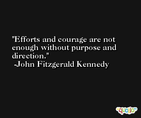 Efforts and courage are not enough without purpose and direction. -John Fitzgerald Kennedy