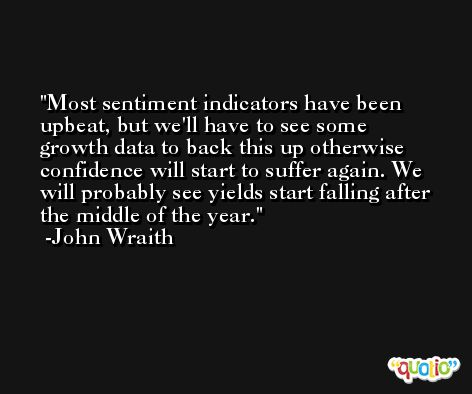 Most sentiment indicators have been upbeat, but we'll have to see some growth data to back this up otherwise confidence will start to suffer again. We will probably see yields start falling after the middle of the year. -John Wraith