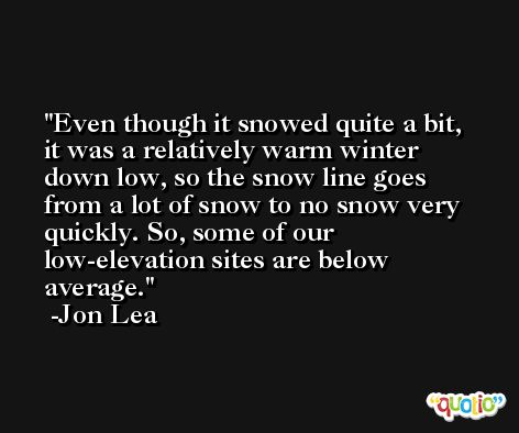 Even though it snowed quite a bit, it was a relatively warm winter down low, so the snow line goes from a lot of snow to no snow very quickly. So, some of our low-elevation sites are below average. -Jon Lea