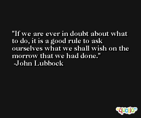 If we are ever in doubt about what to do, it is a good rule to ask ourselves what we shall wish on the morrow that we had done. -John Lubbock