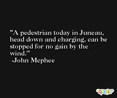 'A pedestrian today in Juneau, head down and charging, can be stopped for no gain by the wind.' -John Mcphee