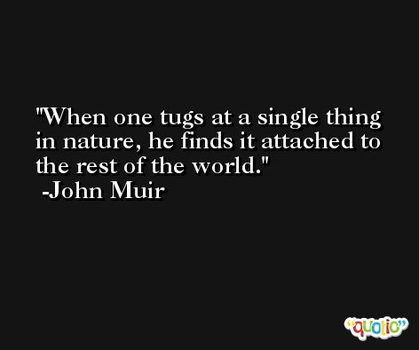 When one tugs at a single thing in nature, he finds it attached to the rest of the world. -John Muir