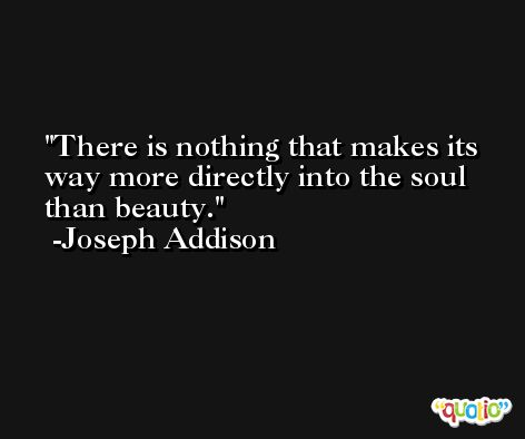 There is nothing that makes its way more directly into the soul than beauty. -Joseph Addison