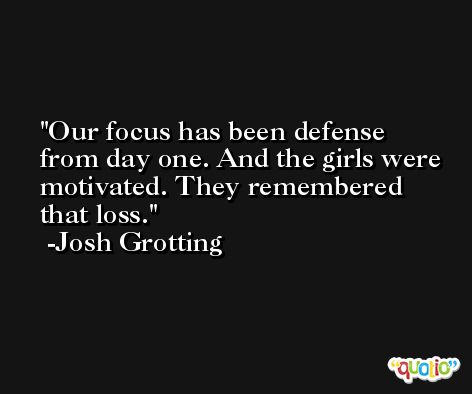 Our focus has been defense from day one. And the girls were motivated. They remembered that loss. -Josh Grotting