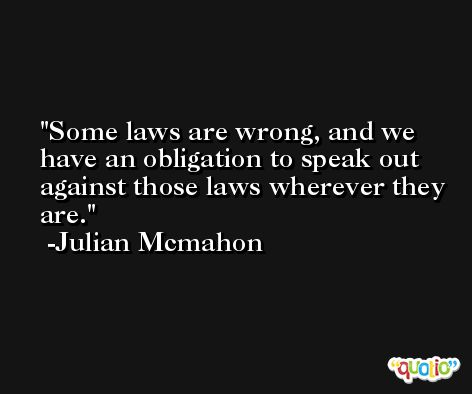 Some laws are wrong, and we have an obligation to speak out against those laws wherever they are. -Julian Mcmahon