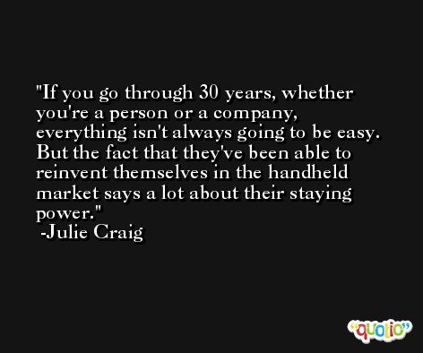 If you go through 30 years, whether you're a person or a company, everything isn't always going to be easy. But the fact that they've been able to reinvent themselves in the handheld market says a lot about their staying power. -Julie Craig