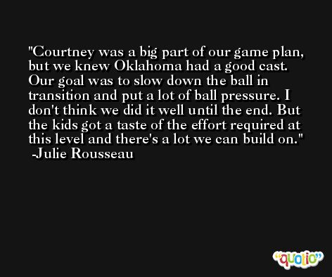 Courtney was a big part of our game plan, but we knew Oklahoma had a good cast. Our goal was to slow down the ball in transition and put a lot of ball pressure. I don't think we did it well until the end. But the kids got a taste of the effort required at this level and there's a lot we can build on. -Julie Rousseau