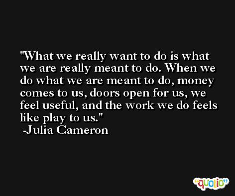 What we really want to do is what we are really meant to do. When we do what we are meant to do, money comes to us, doors open for us, we feel useful, and the work we do feels like play to us. -Julia Cameron