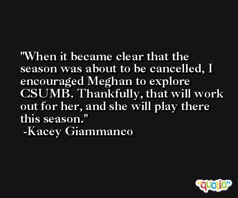 When it became clear that the season was about to be cancelled, I encouraged Meghan to explore CSUMB. Thankfully, that will work out for her, and she will play there this season. -Kacey Giammanco
