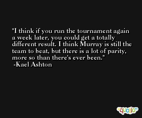 I think if you run the tournament again a week later, you could get a totally different result. I think Murray is still the team to beat, but there is a lot of parity, more so than there's ever been. -Kael Ashton
