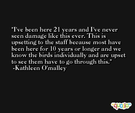 I've been here 21 years and I've never seen damage like this ever. This is upsetting to the staff because most have been here for 10 years or longer and we know the birds individually and are upset to see them have to go through this. -Kathleen O'malley