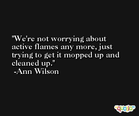 We're not worrying about active flames any more, just trying to get it mopped up and cleaned up. -Ann Wilson