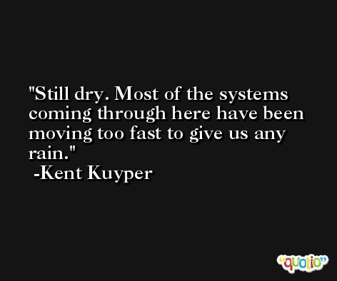 Still dry. Most of the systems coming through here have been moving too fast to give us any rain. -Kent Kuyper
