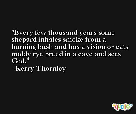 Every few thousand years some shepard inhales smoke from a burning bush and has a vision or eats moldy rye bread in a cave and sees God. -Kerry Thornley