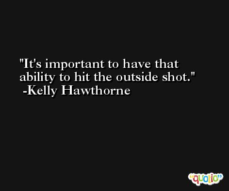 It's important to have that ability to hit the outside shot. -Kelly Hawthorne