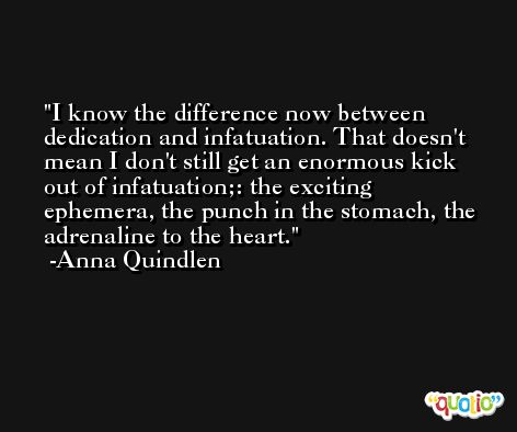 I know the difference now between dedication and infatuation. That doesn't mean I don't still get an enormous kick out of infatuation;: the exciting ephemera, the punch in the stomach, the adrenaline to the heart. -Anna Quindlen