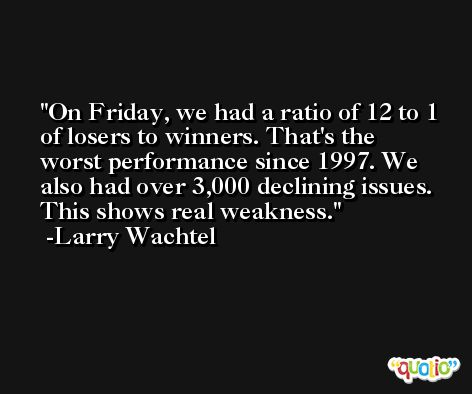 On Friday, we had a ratio of 12 to 1 of losers to winners. That's the worst performance since 1997. We also had over 3,000 declining issues. This shows real weakness. -Larry Wachtel