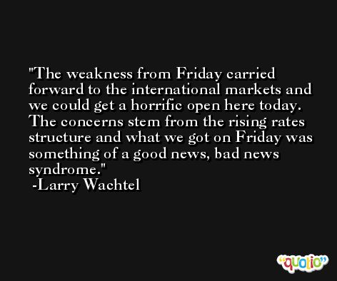 The weakness from Friday carried forward to the international markets and we could get a horrific open here today. The concerns stem from the rising rates structure and what we got on Friday was something of a good news, bad news syndrome. -Larry Wachtel