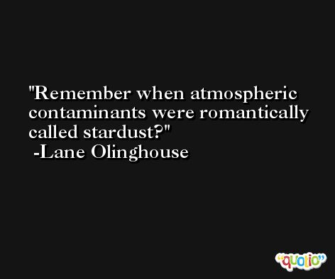 Remember when atmospheric contaminants were romantically called stardust? -Lane Olinghouse