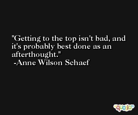 Getting to the top isn't bad, and it's probably best done as an afterthought. -Anne Wilson Schaef