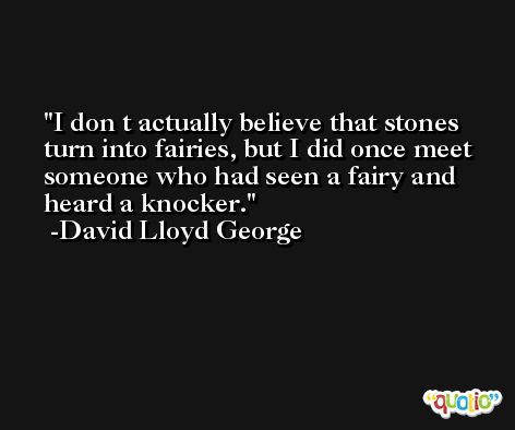 I don t actually believe that stones turn into fairies, but I did once meet someone who had seen a fairy and heard a knocker. -David Lloyd George