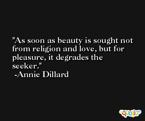 As soon as beauty is sought not from religion and love, but for pleasure, it degrades the seeker. -Annie Dillard