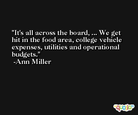 It's all across the board, ... We get hit in the food area, college vehicle expenses, utilities and operational budgets. -Ann Miller