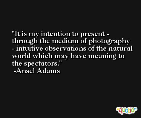 It is my intention to present - through the medium of photography - intuitive observations of the natural world which may have meaning to the spectators. -Ansel Adams