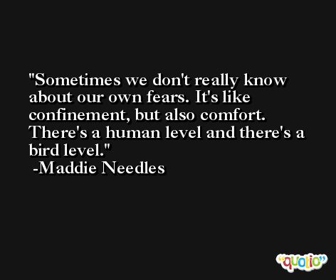 Sometimes we don't really know about our own fears. It's like confinement, but also comfort. There's a human level and there's a bird level. -Maddie Needles