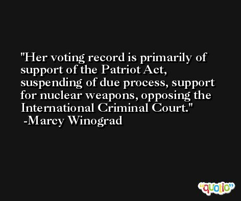 Her voting record is primarily of support of the Patriot Act, suspending of due process, support for nuclear weapons, opposing the International Criminal Court. -Marcy Winograd