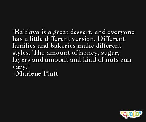 Baklava is a great dessert, and everyone has a little different version. Different families and bakeries make different styles. The amount of honey, sugar, layers and amount and kind of nuts can vary. -Marlene Platt