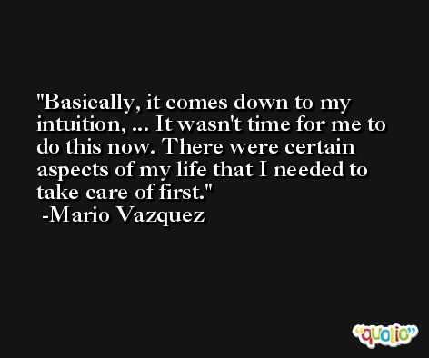 Basically, it comes down to my intuition, ... It wasn't time for me to do this now. There were certain aspects of my life that I needed to take care of first. -Mario Vazquez