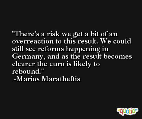 There's a risk we get a bit of an overreaction to this result. We could still see reforms happening in Germany, and as the result becomes clearer the euro is likely to rebound. -Marios Maratheftis