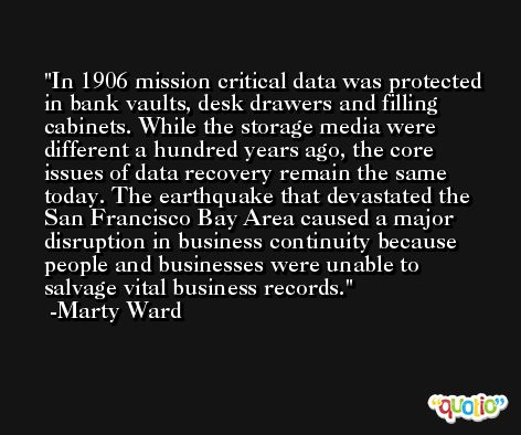 In 1906 mission critical data was protected in bank vaults, desk drawers and filling cabinets. While the storage media were different a hundred years ago, the core issues of data recovery remain the same today. The earthquake that devastated the San Francisco Bay Area caused a major disruption in business continuity because people and businesses were unable to salvage vital business records. -Marty Ward