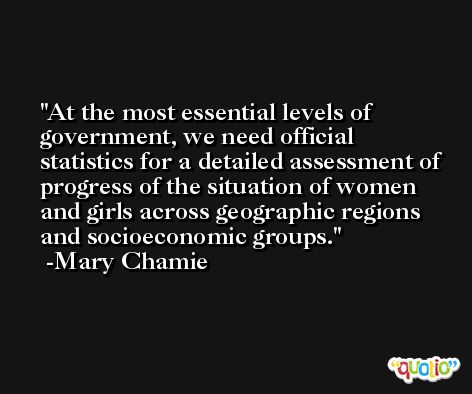 At the most essential levels of government, we need official statistics for a detailed assessment of progress of the situation of women and girls across geographic regions and socioeconomic groups. -Mary Chamie