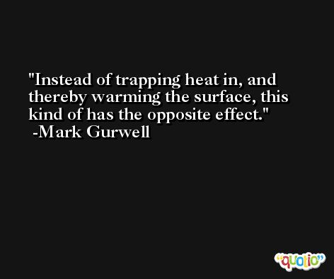 Instead of trapping heat in, and thereby warming the surface, this kind of has the opposite effect. -Mark Gurwell
