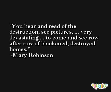 You hear and read of the destruction, see pictures, ... very devastating ... to come and see row after row of blackened, destroyed homes. -Mary Robinson