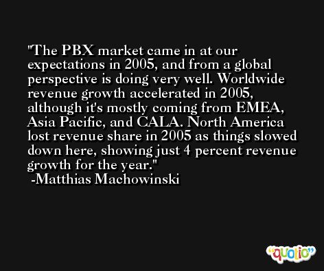 The PBX market came in at our expectations in 2005, and from a global perspective is doing very well. Worldwide revenue growth accelerated in 2005, although it's mostly coming from EMEA, Asia Pacific, and CALA. North America lost revenue share in 2005 as things slowed down here, showing just 4 percent revenue growth for the year. -Matthias Machowinski