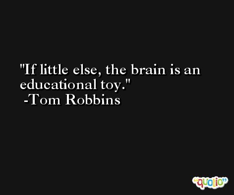 If little else, the brain is an educational toy. -Tom Robbins