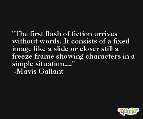 The first flash of fiction arrives without words. It consists of a fixed image like a slide or closer still a freeze frame showing characters in a simple situation.... -Mavis Gallant