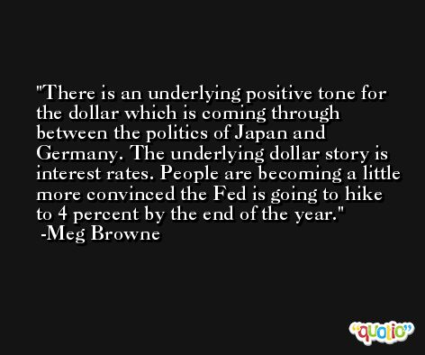 There is an underlying positive tone for the dollar which is coming through between the politics of Japan and Germany. The underlying dollar story is interest rates. People are becoming a little more convinced the Fed is going to hike to 4 percent by the end of the year. -Meg Browne