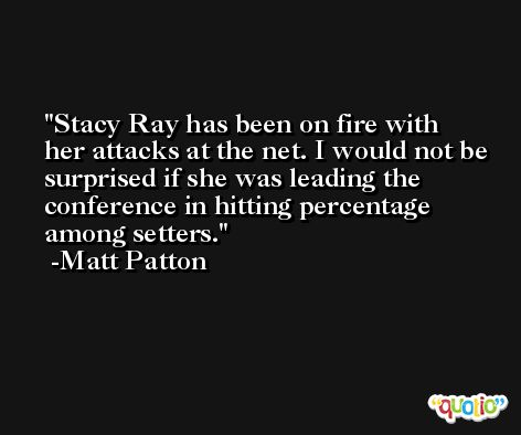 Stacy Ray has been on fire with her attacks at the net. I would not be surprised if she was leading the conference in hitting percentage among setters. -Matt Patton