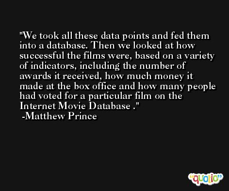 We took all these data points and fed them into a database. Then we looked at how successful the films were, based on a variety of indicators, including the number of awards it received, how much money it made at the box office and how many people had voted for a particular film on the Internet Movie Database . -Matthew Prince