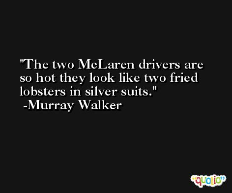 The two McLaren drivers are so hot they look like two fried lobsters in silver suits. -Murray Walker