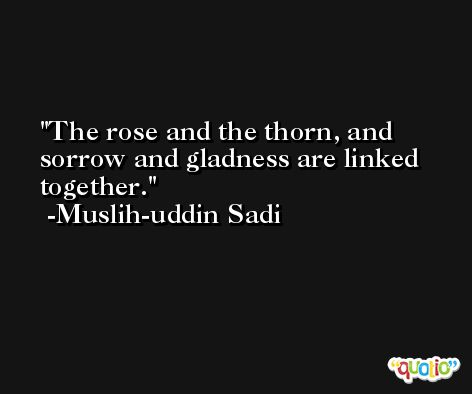 The rose and the thorn, and sorrow and gladness are linked together. -Muslih-uddin Sadi