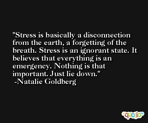 Stress is basically a disconnection from the earth, a forgetting of the breath. Stress is an ignorant state. It believes that everything is an emergency. Nothing is that important. Just lie down. -Natalie Goldberg