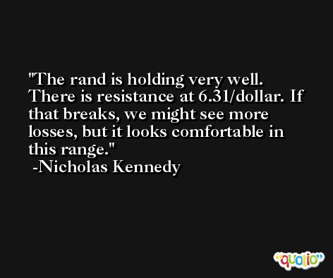 The rand is holding very well. There is resistance at 6.31/dollar. If that breaks, we might see more losses, but it looks comfortable in this range. -Nicholas Kennedy