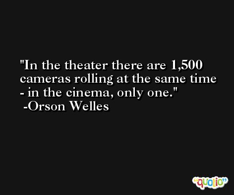 In the theater there are 1,500 cameras rolling at the same time - in the cinema, only one. -Orson Welles