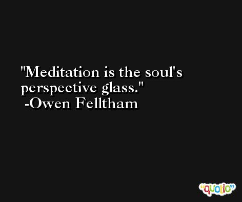 Meditation is the soul's perspective glass. -Owen Felltham