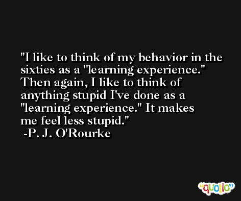 I like to think of my behavior in the sixties as a ''learning experience.'' Then again, I like to think of anything stupid I've done as a ''learning experience.'' It makes me feel less stupid. -P. J. O'Rourke